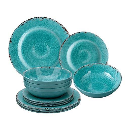 Gourmet Art 12-Piece Crackle Melamine Dinnerware, Turquoise (Coastal Dinnerware Melamine)