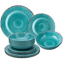 Gourmet Art 12-Piece Crackle Melamine Dinnerware, Turquoise