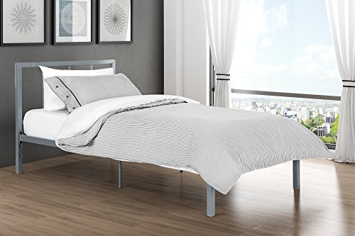 "Finlay Twin Metal Bed Frame In Rich Silver, Modern Scandinavian Minimalist Design, Solid Platform Sturdy Metal Slats, With Metal Headboard, Adjustable Height 7"" or 11"" of Clearance for Storage"