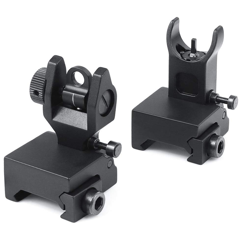 Feyachi Flip Up Rear Front and Iron Sights with Elevation Best Backup fits Picatinny & Weaver Rails Black by Feyachi
