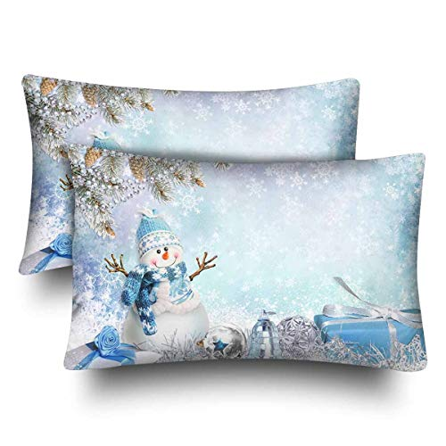 - Winter Christmas Tree Snowman Gift Pillow Cases Pillowcase Standard Size Set of 2, Rectangle Pillow Covers Protector for Home Couch Sofa Bedding Decorative 20x30 inch