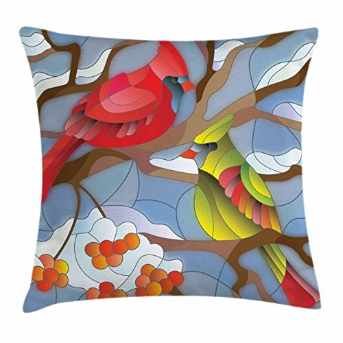 Cardinal Throw Pillow Cushion Cover, Stained Glass Style North American Mountain Birds Sitting on a Rowan Tree Branch, Decorative Square Accent Pillow Case, 18 X 18 Inches, Multicolor (Mountains Glass Stained)