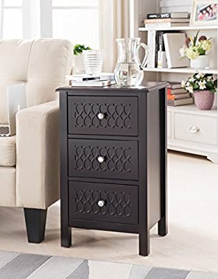 Kings Brand Furniture Accent Side End Table with Drawers, Espresso