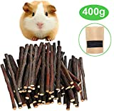 Malier 400g (14oz) Apple Sticks Pet Snacks Chew Toys for Guinea Pigs Chinchilla Squirrel Rabbits Parrot hamster degus gerbil ( About 120 - 140 Sticks )