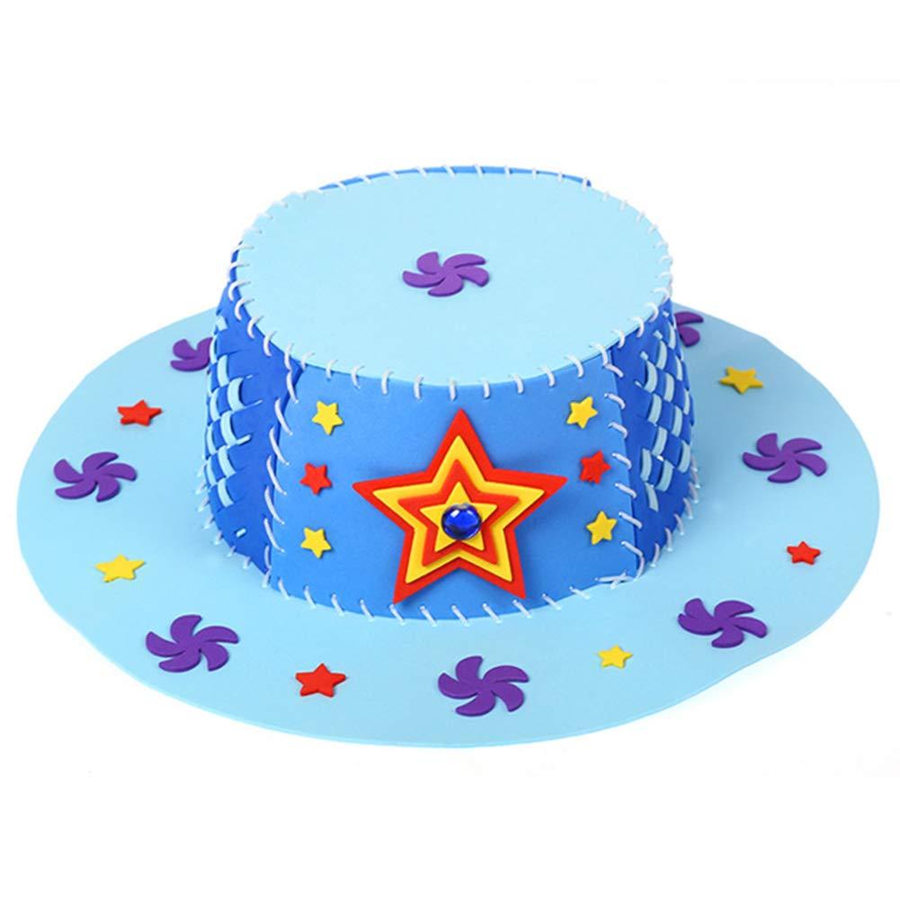 Children 3D Puzzle DIY Handmade EVA Hat Art Craft Birthday Gift Educational Toy - Blue