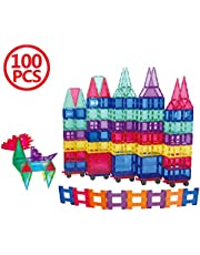 FunEdu Upgraded 100-piece Magnetic Tiles Building Blocks, Deluxe Super Strong Magnet toy set, Various Shapes, Wheel Bases, Tiles with Animal Images for kids toddlers