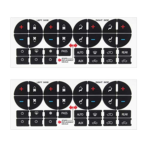 Luckkyme AC Button Replacement Stickers Kit, Adhesive AC Dash Button Fix Ruined Faded Auto AC Controls for Buick Chevrolet Chevy GMC Vehicle(2pcs ()