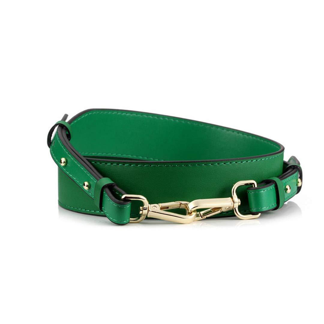 Leather Wide Shoulder Strap Solid Color Adjustable Length100cm-120Cm Rivet Women Bag Accessories green gold hook by AJBDHHD