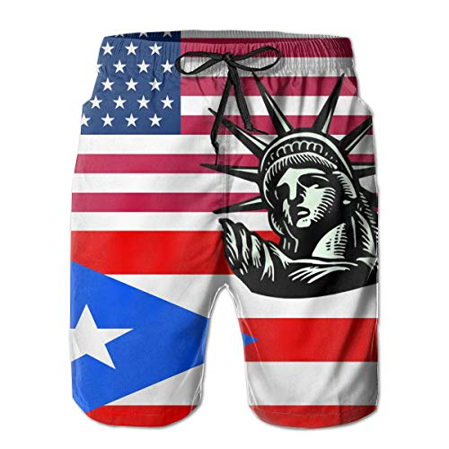 YongColer Relaxed Beach Swim Trunks for Boys Mens, Statue Liberty USA Puerto Rico Flag Swim Shorts Fast Dry Hip Hop Half Pants with Adjustable Drawstring Plus Size Underwear for Outdoor Workout