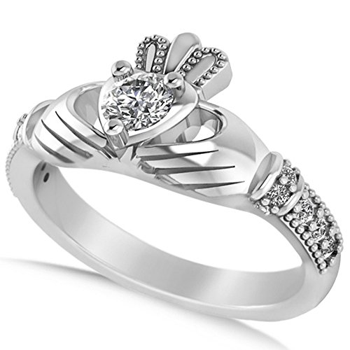 Women's Diamond Claddagh Engagement Ring in 14k White Gold (0.42ct)