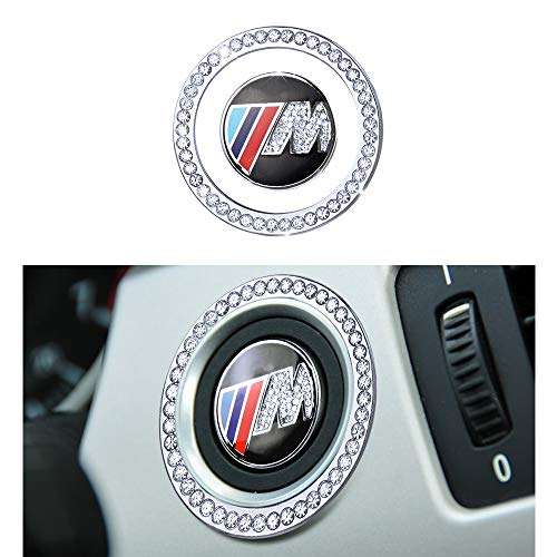 1797 Compatible Engine Caps for BMW Accessories Parts Start Stop Button Covers Decal Bling Interior Decorations 3 5 M3 Z4 Series E90 F30 F10 E89 xDrive AWD Women Men Crystal Silver Cool Pack of 2