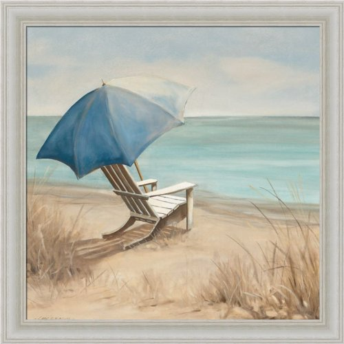 Cape Cod Beach Chair - Summer Vacation I by Carol Robinson Adirondack Chair Beach Scene Art Print Framed Picture