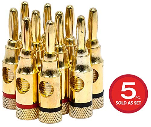 Monoprice 5PRJX74047 Gold Plated Speaker Banana Plugs - 5 Pairs - Open Screw Type, for Speaker Wire, Home Theater, Wall Plates and More