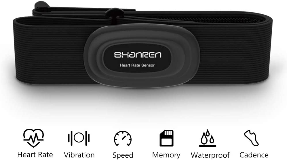 SHANREN Heart Rate Monitor – Chest Strap 2019 Upgrade Beat 20-Fitness-Tracker Support Bluetooth and ANT Rechargeable Heart Rate Sensor with Vibration Alert, IP68 Waterproof Smart Activity Tracker