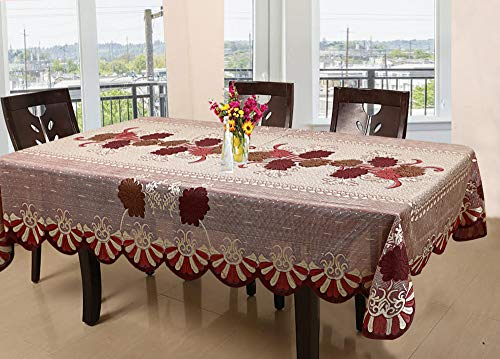 Kuber Industries Floral Cotton 6 Seater Dining Table Cover – Red