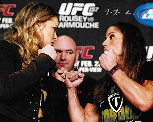 Liz Carmouche Signed 8x10 Photo Autograph 2013 UFC 157 Picture w/ Ronda Rousey 3 - Autographed UFC Photos
