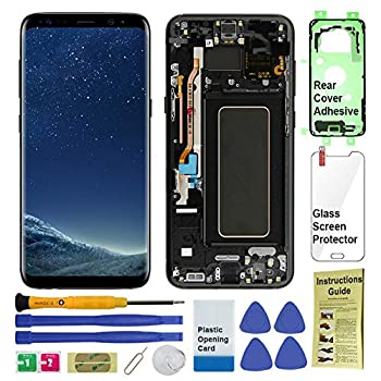 Image of Display Touch Screen (AMOLED) Digitizer Assembly with Frame for Samsung Galaxy S8 (5.8 inch) All Models (Unlocked) (for Phone Repair Replacement) (Midnight Black) Replacement Parts