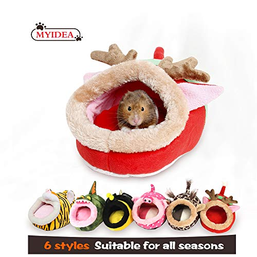 MYIDEA Hamster Nest – Hedgehog Litter,Suger Glider, Lizard,Hamster Hideout & Small pet Animals Bed/Cube/House, Habitat, Lightweight, Durable, Portable, (Small Pet – S, Red elk)