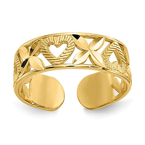 14k Solid Yellow Gold Diamond-Cut X and Heart Toe Ring - Heart Solid Toe Ring