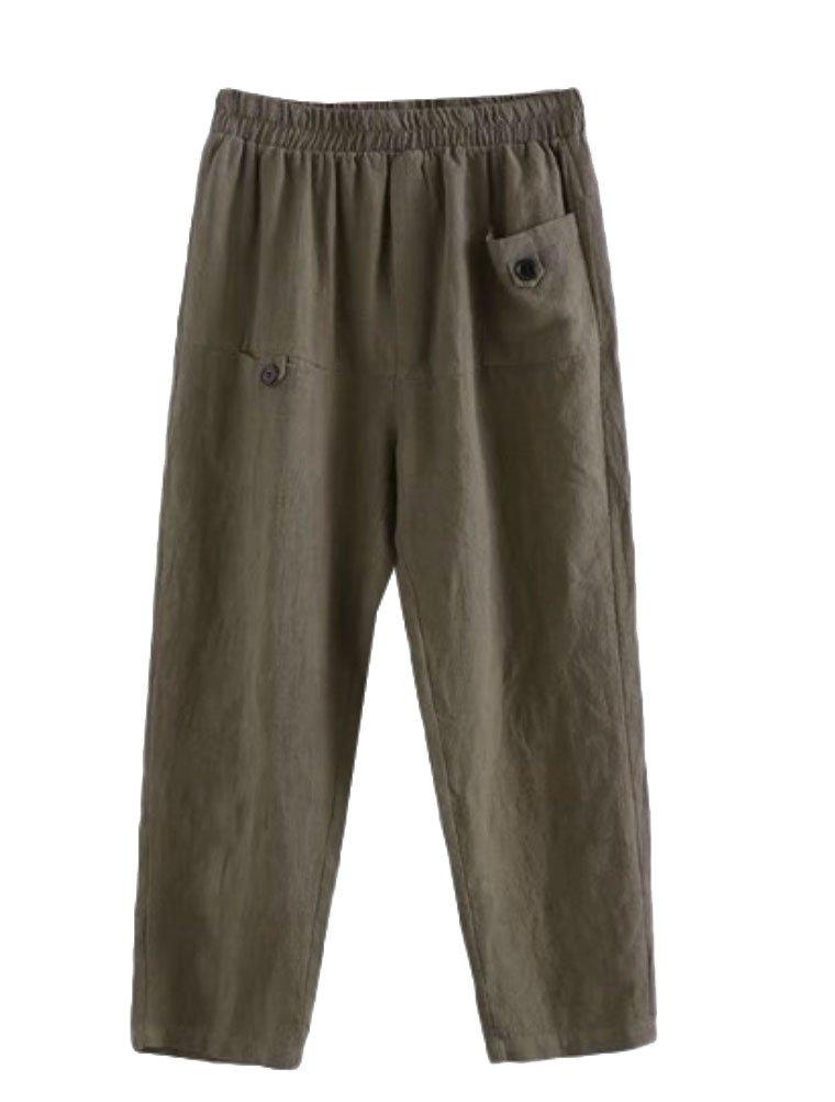 Minibee Women's Elastic Waist Casual Crop Linen Pull On Pants Amry Green 2XL