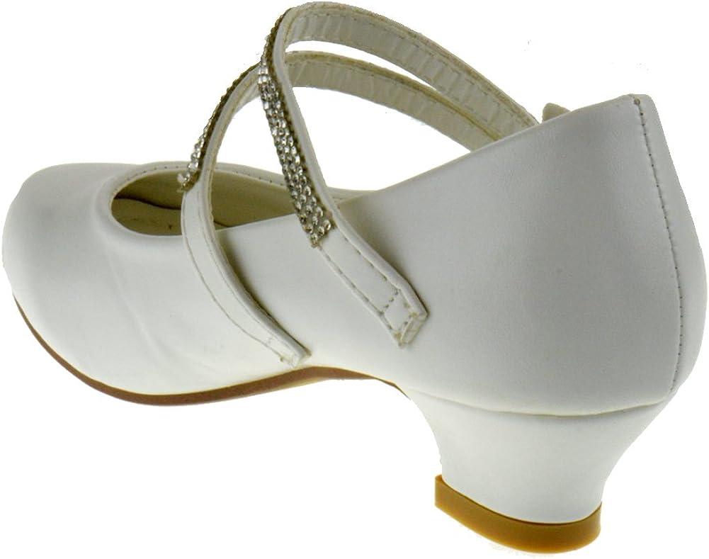 WK K02 92KM Little Girls Heeled Rhinestone Dress Sandals