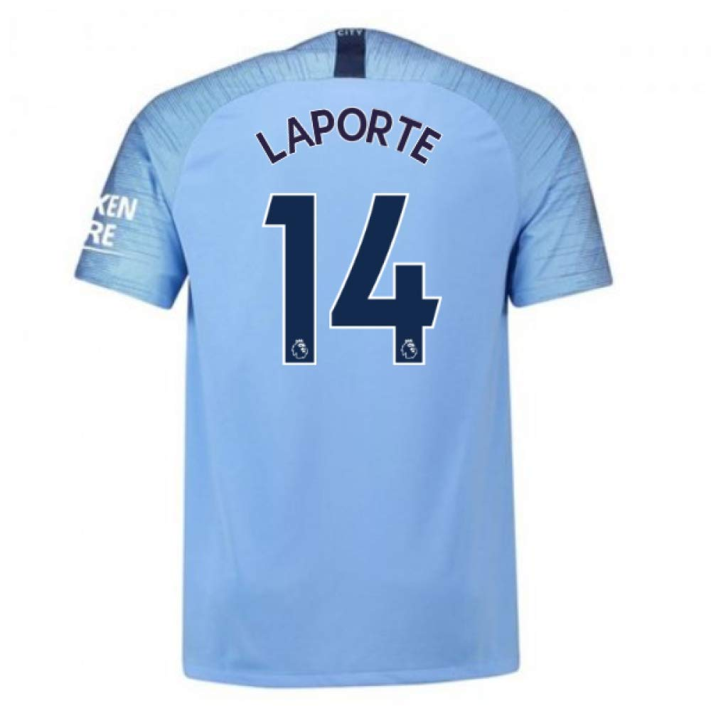 2018-2019 Man City Nike Vapor Home Match Football Soccer T-Shirt Trikot (Aymeric Laporte 14)