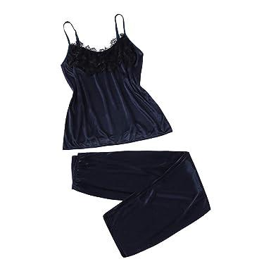 8aac6e7221 Malloom 2 Unids Señoras Sexy Satén Seda Ropa de Dormir Babydoll Lencería  Camisón Pijamas Traje de Encaje Pijamas Pantalones Conjunto Sexy   Amazon.es  Ropa y ...