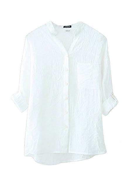 BININBOX Damen bequeme Leinen Bluse Hemd V-Ausschnitt Stehkragen 3/4-Arm  Leinenbluse Langarm-shirt (4 Farben): Amazon.de: Bekleidung