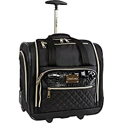 BEBE Women's Leena-Wheeled Under the Seat Carry on Bag, Black
