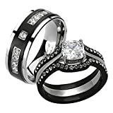 His & Her 4pc Black & Silver Stainless Steel & Titanium Wedding Ring Band Set Size Women's 06 Men's 10