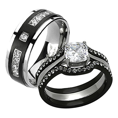 His & Her 4pc Black & Silver Stainless Steel & Titanium Wedding Ring Band Set Size Women's 06 Men's 10 by Marimor Jewelry