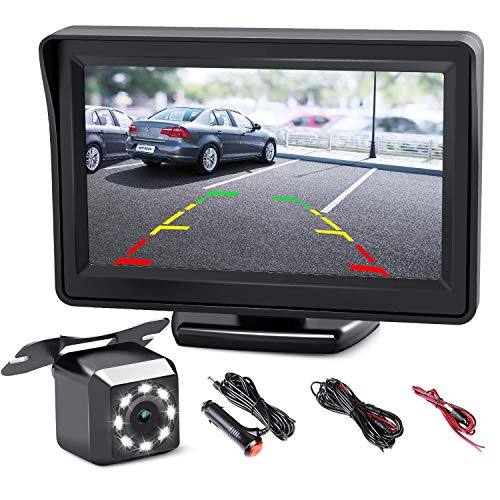 CISNO Quick Installation Car Backup Camera with 4.3' LCD Monitor Pickup Truck Camper Night Vision Parking Reverse Assistance System