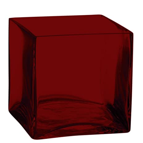 Square Glass Vase 4 Inch Red Cube Center Piece Full Color Red