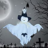 Party Decoration Hanging Ghost Windsock , Spook Pumpkin Fly Witch Scarecrow Doll for Front Yard Patio Lawn Garden Party Decor and Holiday Decorations Themed - 3 Pack (White/orange/green)