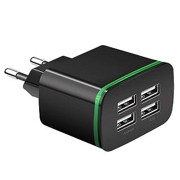 minlop Cargador USB de Pared con 4 Puertos, 4A/5V Rápido ...