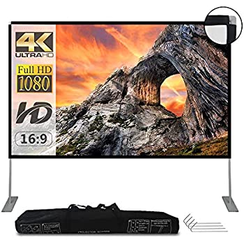 Projector Screen with Stand 100 inch Portable Projection Screen 16:9 4K HD Rear Front Projections Movies Screen with Carry Bag for Indoor Outdoor Home Theater Backyard Cinema Trave
