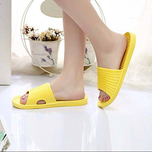 ESHOO Mujer Cómodo Slip On Slide Sandalias Zapato de baño ducha suelo, plástico, Amarillo, Asia 40 Amarillo