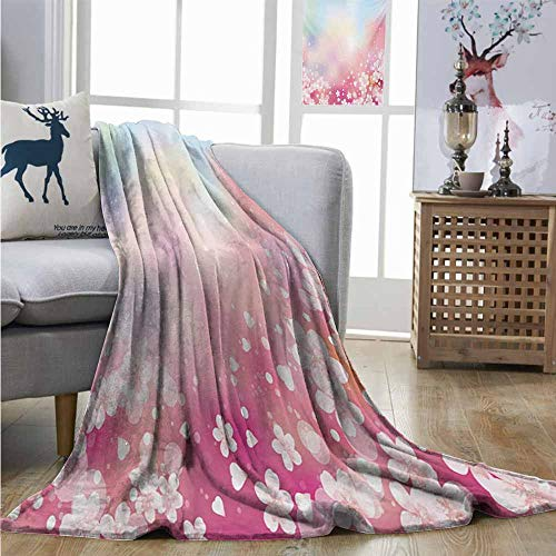 Cozy Blanket Pastel Japanese Nature Sakura Tree Cherry Blossoms Romantic Hazy Dreamy Cheerful Charisma Blanket W60 xL80 Pale Pink Pale Blue ()