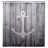 84 Inch Shower Curtain Goodbath Extra Long Shower Curtain, Nautical Anchor Rustic Wood Striped Door Design, Fabric Waterproof Bathroom Curtains, 72W x 84L Inch Grey White