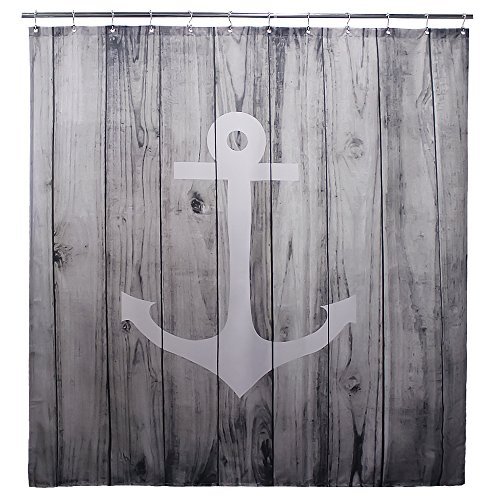 Goodbath 36x72 Nautical Fabric Shower Stall Curtain Mildew Resistant and Waterproof Bathrooom Curtain, Gray White