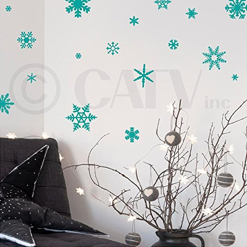 - Small snowflakes set of 30 vinyl lettering wall pattern decals (Turquoise)