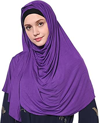YI HENG MEI Women's Modest Muslim Islamic Soft Solid Cotton Jersey Inner Hijab Full Cover Headscarf - Purple - One Size
