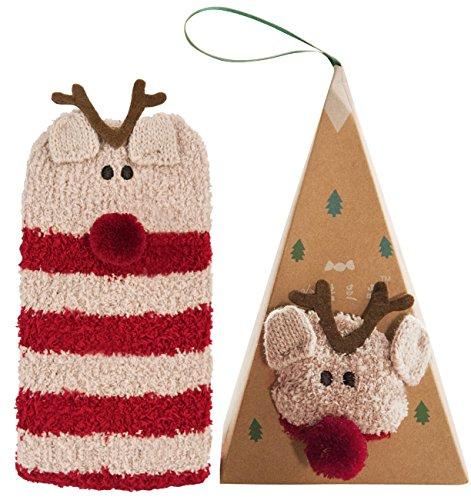 Plush Large Christmas Stocking (Christmas Socks,Funpa Fuzzy Crew Socks Warm Plush Bed Socks Cute Novelty Soft Sox in Custom Gift Box for Adult Women Girls Winter Christmas Gift)