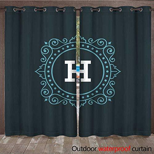(RenteriaDecor Outdoor Curtain for Patio Flourishes calligraphic Monogram Emblem Template W72 x L108)