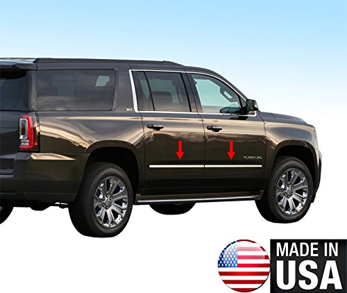 Made In USA! 2015-2017 GMC Yukon XL Chevy Suburban Body Side Molding Trim 4PC (Chevy Side Pillar)