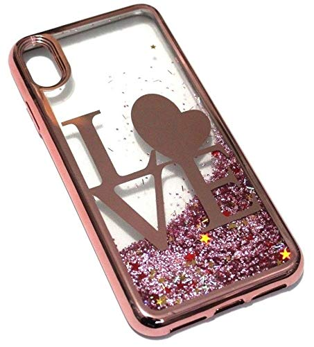 for iPhone X/XS / 10s - Hybrid Glitter Case Liquid Waterfall Quicksand Protector Skin Cover (Love Rose Gold)