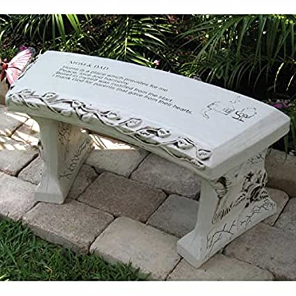 Hand Crafted U0027Mom U0026 Dadu0027 Cast Stone Garden Bench By Southwest Graphix    Personalization