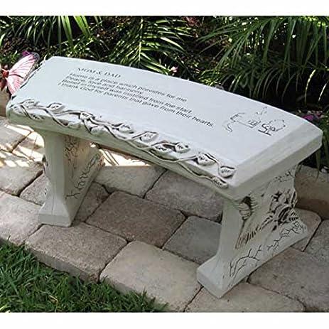 Hand Crafted U0027Mom U0026 Dadu0027 Cast Stone Garden Bench By Southwest Graphix    Personalization