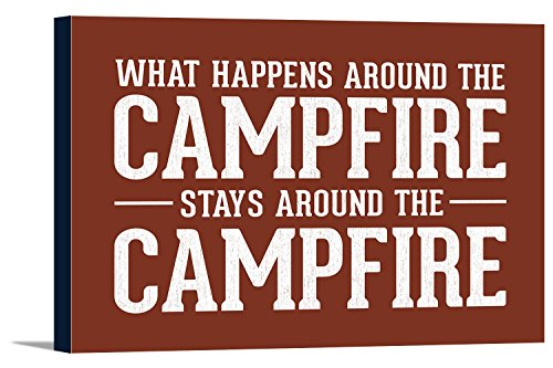 Framed Campfire (What Happens Around the Campfire - Rustic Simply Said (18x12 Gallery Wrapped Stretched Canvas))