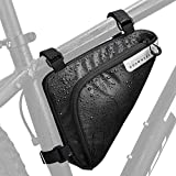 Lukovee Bike Storage Frame Bag, Bicycle Front Tube Triangle Water Resistant Cycling Pack Strap On Saddle Pouch Bike Accessories Tool Accessible Storage Bag for Road Mountain Commute Bike